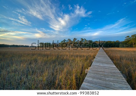 A Sunset Over the Marsh and Dock - South Carolina - stock photo
