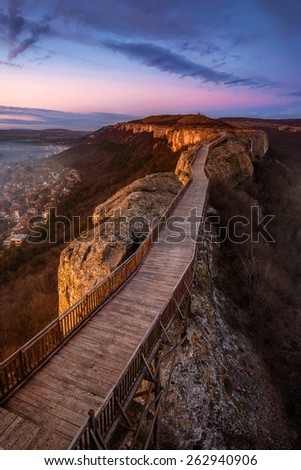 A sunset view of the medieval fortress Ovech near Provadia, Bulgaria - stock photo