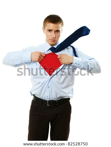 A superhero standing isolated on white background - stock photo