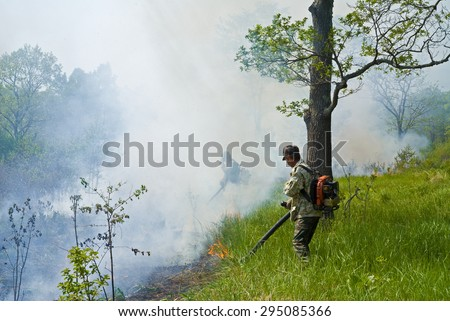 A suppression of forest fire. Early spring. - stock photo