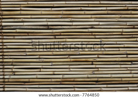 A surface made up of bamboo reeds.