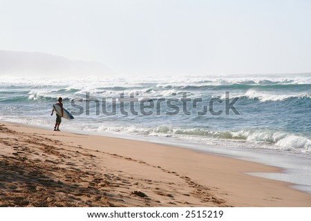 A surfer on the beach holding a board