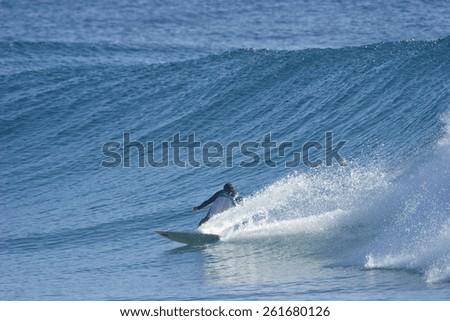 A surfer speeds along a beautiful, blue ocean wave. - stock photo