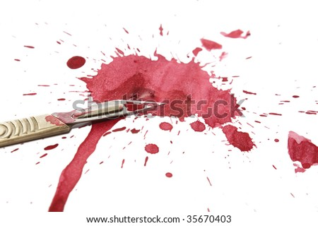 A surgeons scalpel with a blood covered blade set on a white background over a blood splatter.