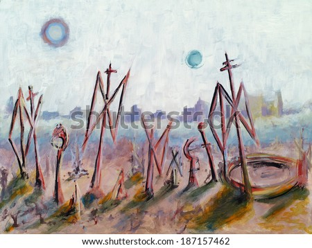 a surreal painting - stock photo
