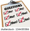A survey with reserach questions Who, What, Where, When, Why, How and check boxes and marks to symbolize searching for answers to important mysteries - stock photo