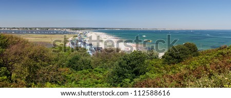 A sweeping panorama of the Mudeford sandspit on Hengistbury Head. - stock photo