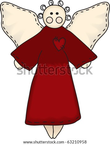 a sweet angel in primitive style - stock photo