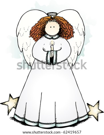 a sweet angel with stars holding a candle - stock photo