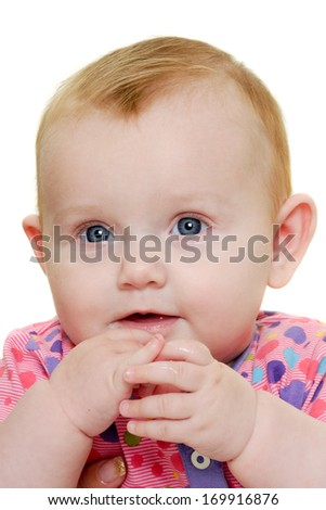 A sweet happy baby 3 month young.Taken on a white background. - stock photo