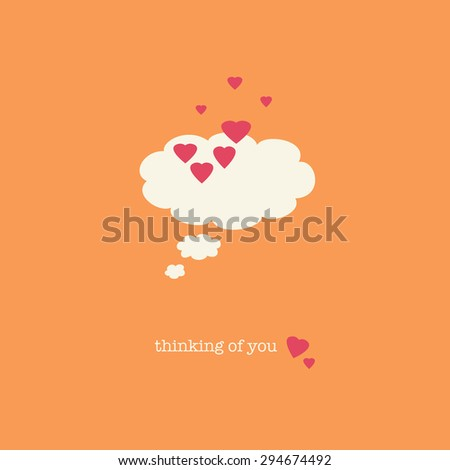 A sweet Valentine's Day card with a thought bubble covered in pink hearts. - stock photo