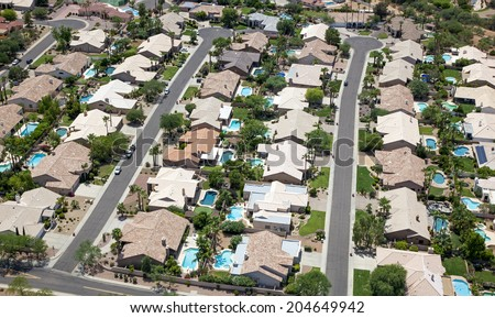 A swimming pool for every home in a Scottsdale, Arizona suburb - stock photo