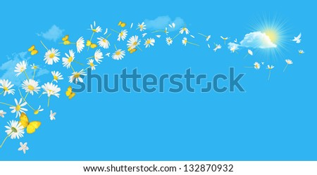 A swirl of flying daisy flowers and butterflies with a white bird at the top, over a absolute blue sky with clouds and a sun coming out behind a bright cloud. Each element is different, no copies.