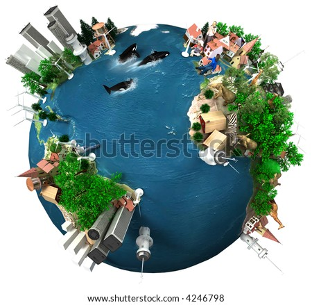 A symbolic overpopulated Earth isolated with white background - stock photo