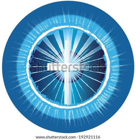 A symbolized illustration of a cross in blue circles with light rays, representing God - on a white background. - stock photo