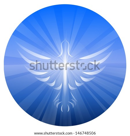 A symbolized illustration of a dove and cross representing God's Holy Spirit, on a blue circle background with rays of light.  - stock photo
