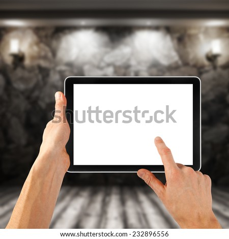a tablet like ipades on the interior backgrounds  - stock photo
