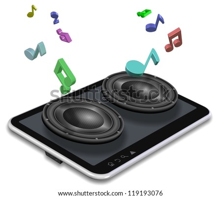 A tablet PC and pair of speakers coming from it / Music from tablet - stock photo