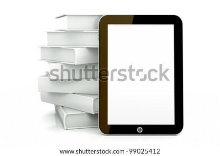 a tablet pc with books isolated on white as a education concept - stock photo