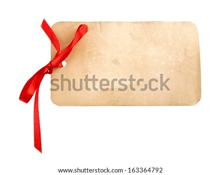 a tag with a bow on a white background - stock photo