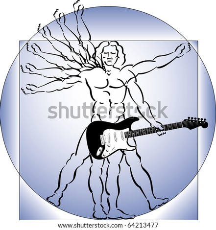 A take-off on DaVinci�s vitruvian man, where the man plays a guitar - stock photo