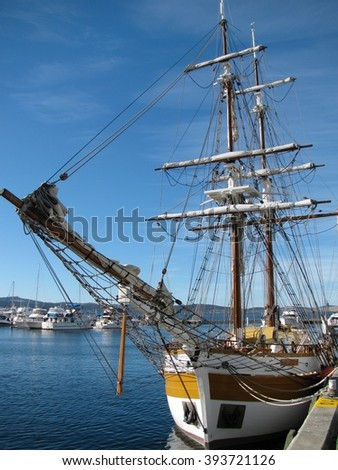 A tall ship docked in Hobart Harbor in Hobart, Tasmania.
