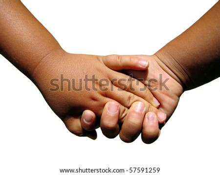 a tan boy and girl toddler holding hands isolated on a white background in Hawaii
