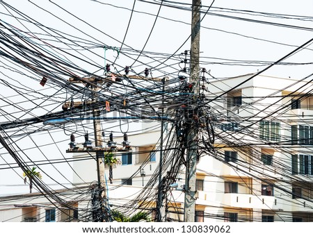 A tangle of cables and wires. - stock photo