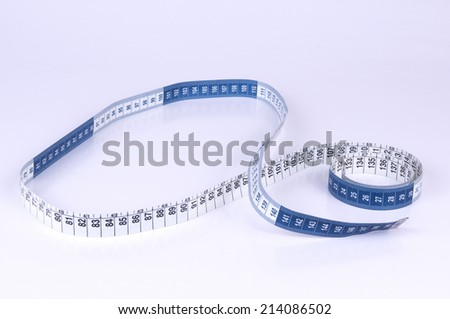 A tape measure or measuring tape is a flexible ruler on white background