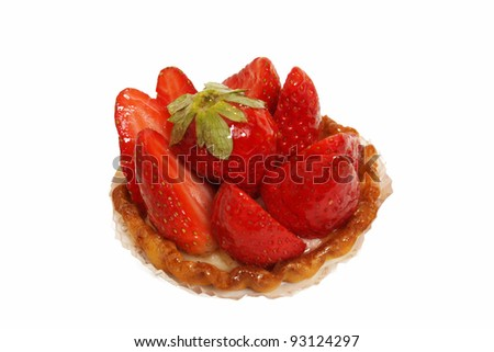 a tart strawberry on a white background - stock photo