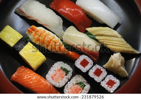 A tasty dish of assorted sushi in a Japanese restaurant