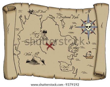 A tattered map with labeled landmarks leading to buried pirate treasure. - stock photo