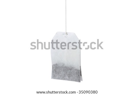 A tea bag isolated on white
