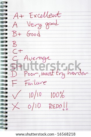 A teachers marks and comments written in red ink. - stock photo
