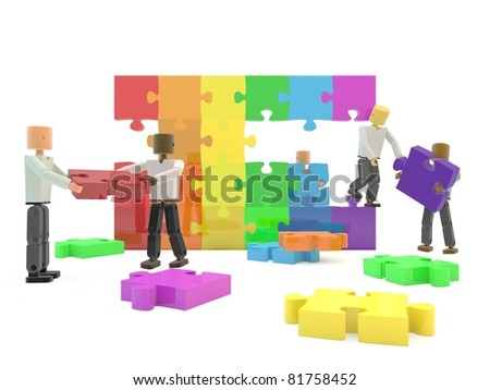 A team building a rainbow flag against a white isolated background - stock photo