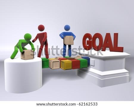 A team of diversity building a bridge to reach the goal - stock photo