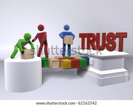A team of diversity building trust - stock photo