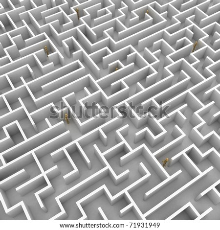 A team of mannequins is stuck in a big maze - stock photo