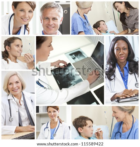 A team of medical doctors & nurses men and women with patients in a hospital, with stethoscopes, x-rays and computers - stock photo