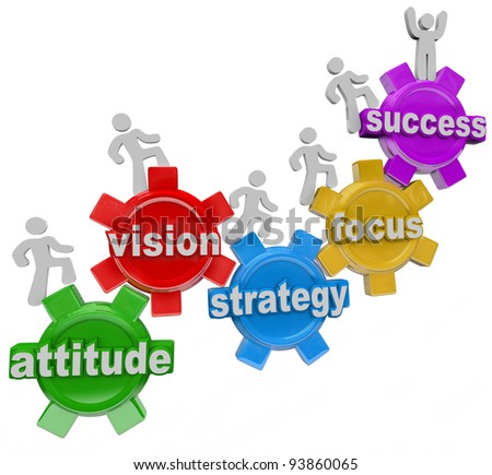 A team of people walking upward on connected gears with the words Attitude, Vision, Strategy, Focus and Success symbolizing the elements necessary to achieve a goal and be successful in business - stock photo