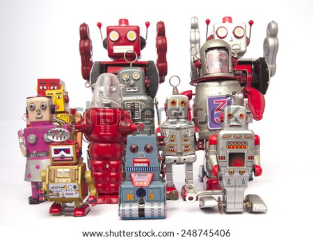 a team of  vintage robot toys - stock photo