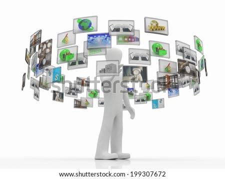 A technology man has images around his head. 3D images - stock photo