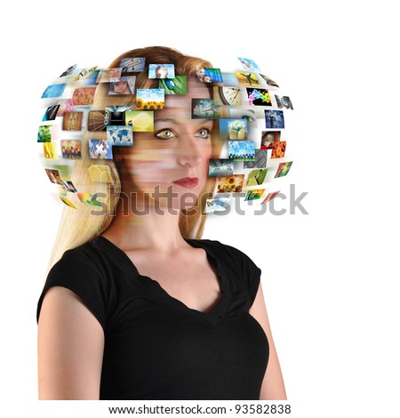 A technology woman has images around her head representing entertainment media on a white background. Use it for a communication or tv concept.