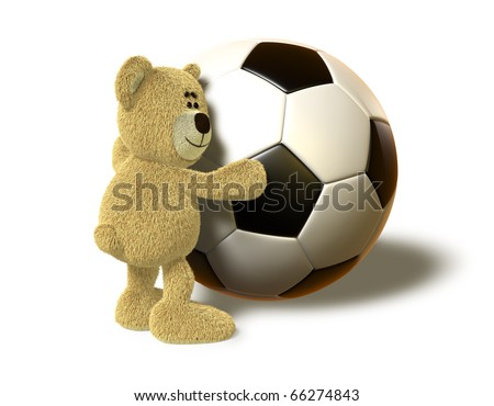 A teddy bear hugs a huge Soccer Ball and smiles. This image is isolated on a white background with soft shadows. - stock photo