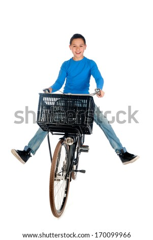 a teenage boy on a bike, on a white background - stock photo