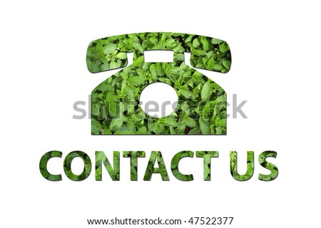 A telephone symbol with the text contact us made out of green leaves to be used by a company to symbolize ecology or enrivoNmental concerns. - stock photo