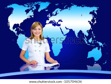 a television anchorwoman at a studio, with a world map in the background - stock photo