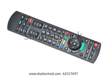 A Television Remote Control On White background - stock photo