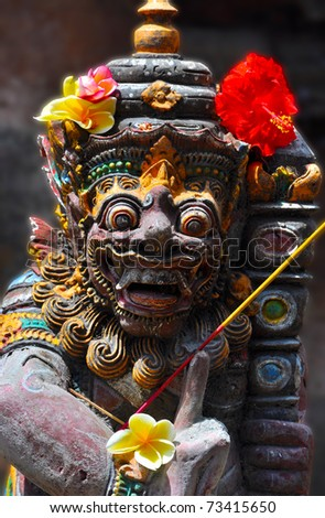 A Tempel Guard close to a temple in Ubud / Bali - stock photo