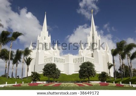 a Temple of the Church of Jesus Christ of Latter-day Saints in San Diego, California - stock photo